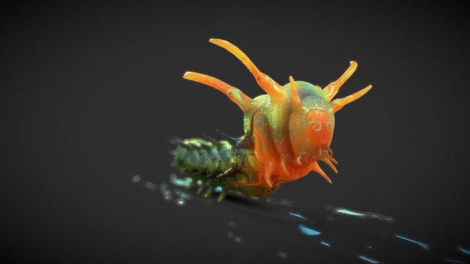 horned devil caterpillar 3d model blend 1