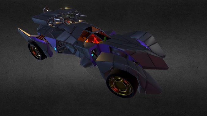 batmobile armored ver2 3d model obj mtl blend gltf glb 1