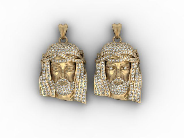 3d print model jesus head pendants with gems pack aloadofball Choice Image