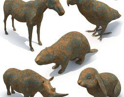 3D model 5 animal sculptures 03