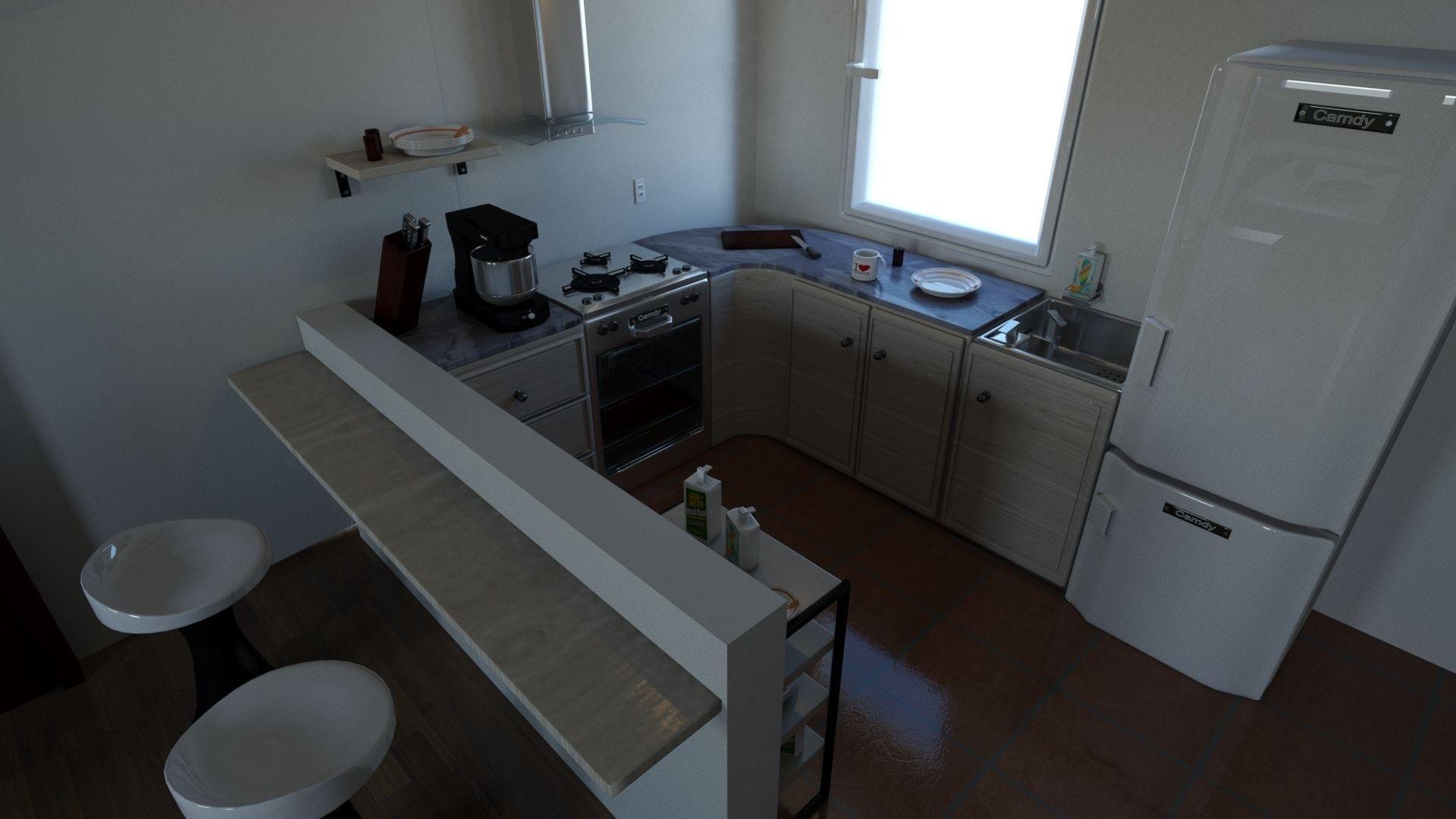 Living room with kitchen 3d model max obj for Kitchen room model