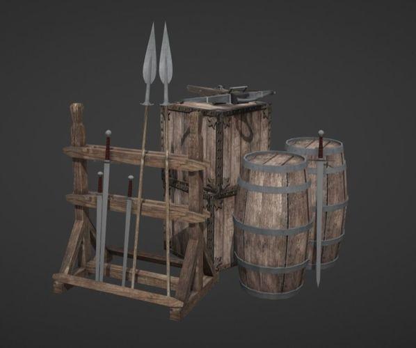 medieval props - lowpoly 3d model obj fbx mtl 1
