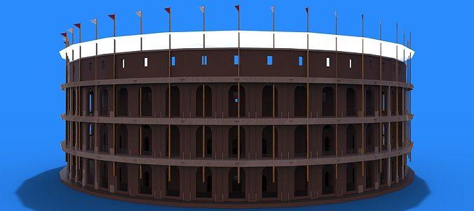 roman colosseum 3d model low-poly max obj mtl 3ds fbx dwg 1