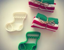 3d printable model christmas sock cookie cutter