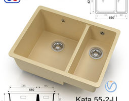 Kitchen sink - Omoikiri Kata 55-2-U - 8 colors 3D model
