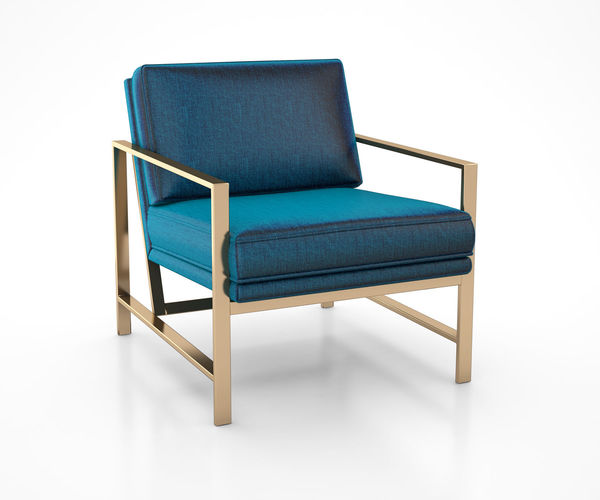 3D Metal Frame Upholstered Chair Celestial Blue by West