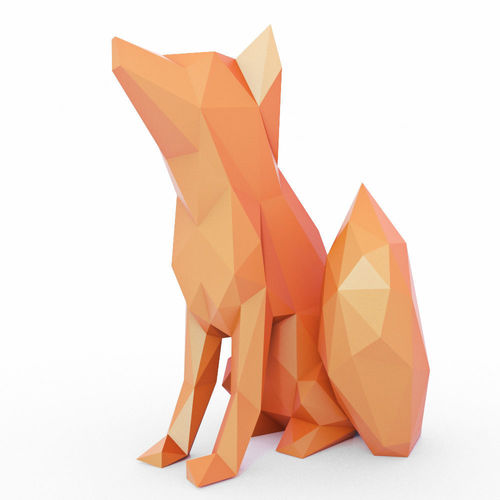 the fox sits low poly 3d model low-poly max obj mtl 3ds fbx stl 1