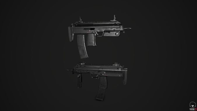 h and k mp7a1 3d model low-poly fbx 1