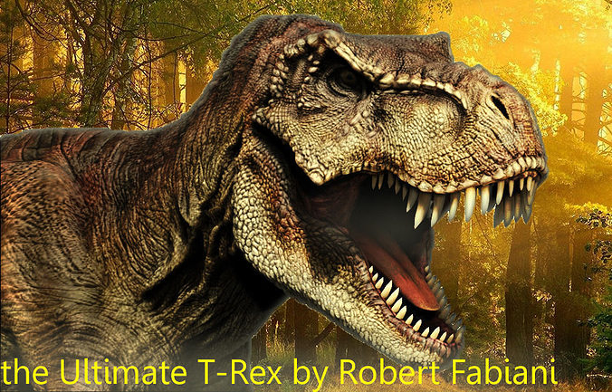t-rex 3d model obj fbx mtl tga 1