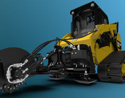 Compact Track with Stump Grinder 3D model