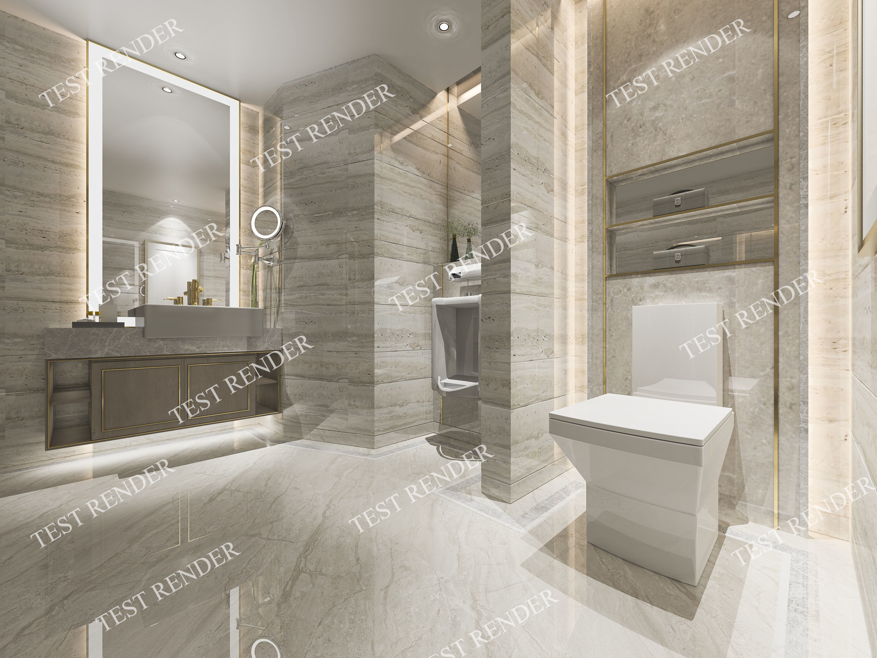 3D model Modern luxury marble toilet and