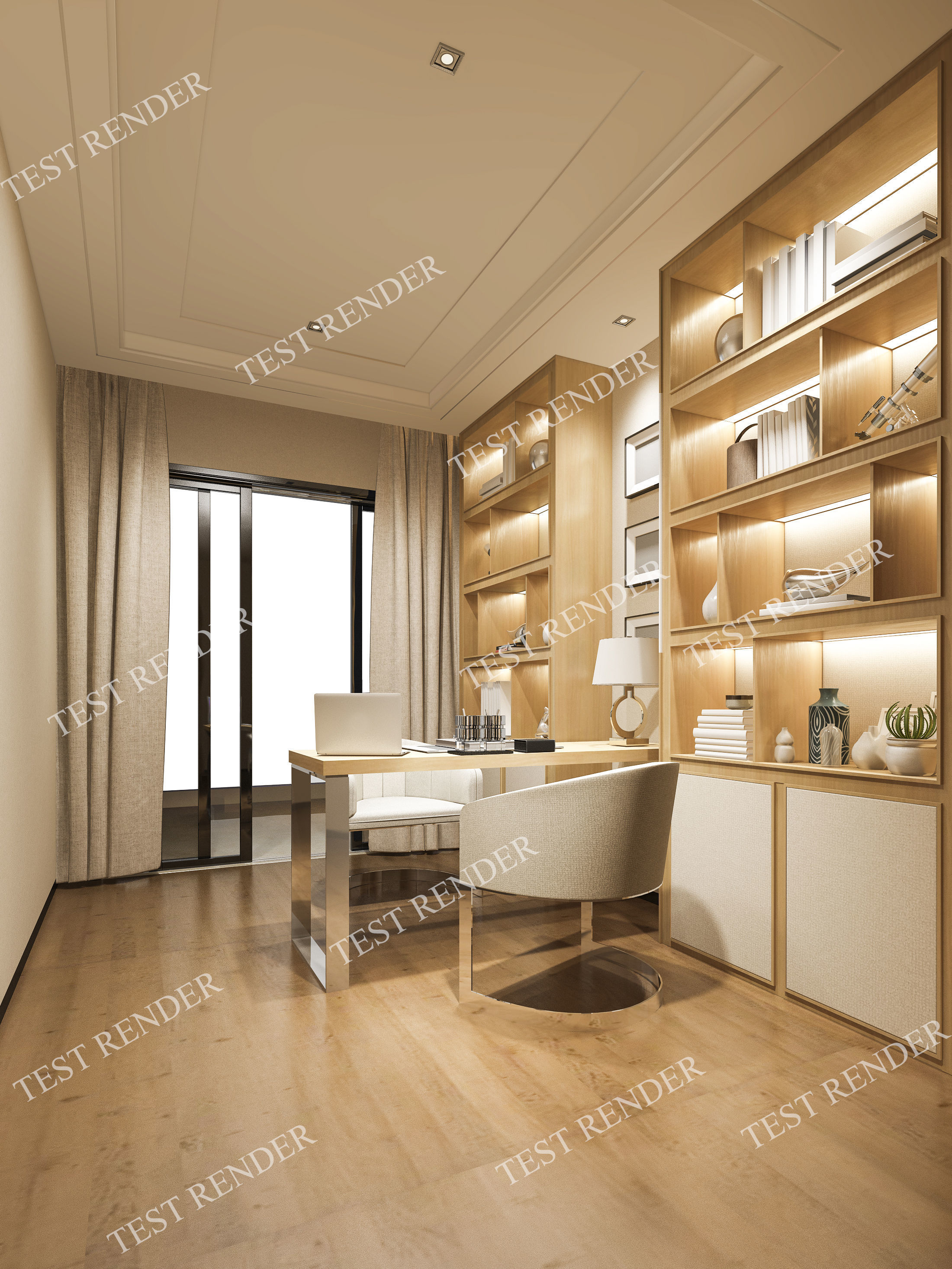 Industrial Study Room: Curtain 3D Model Modern Luxury Study Working Room