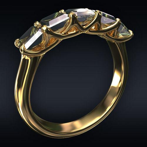 ring 5 square stones 3d model max obj mtl 3ds fbx stl 1