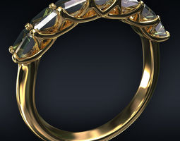 Ring 7 square stones 3D diamond-ring