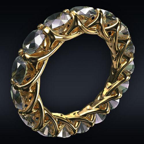ring full 16 round stones 3d model max obj 3ds fbx stl 1