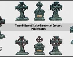 3D asset Stylized Crosses
