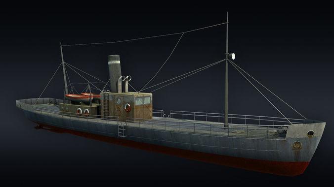 cargo ship 3d model low-poly max obj 3ds fbx tga 1