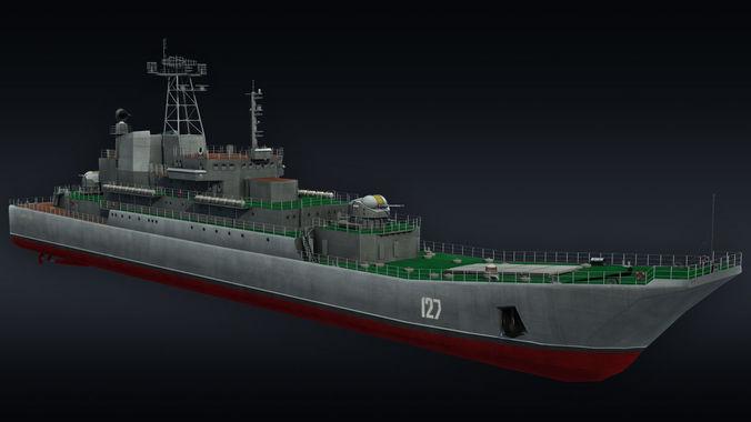 landing ship llc minsk project 775 3d model max obj 3ds fbx 1