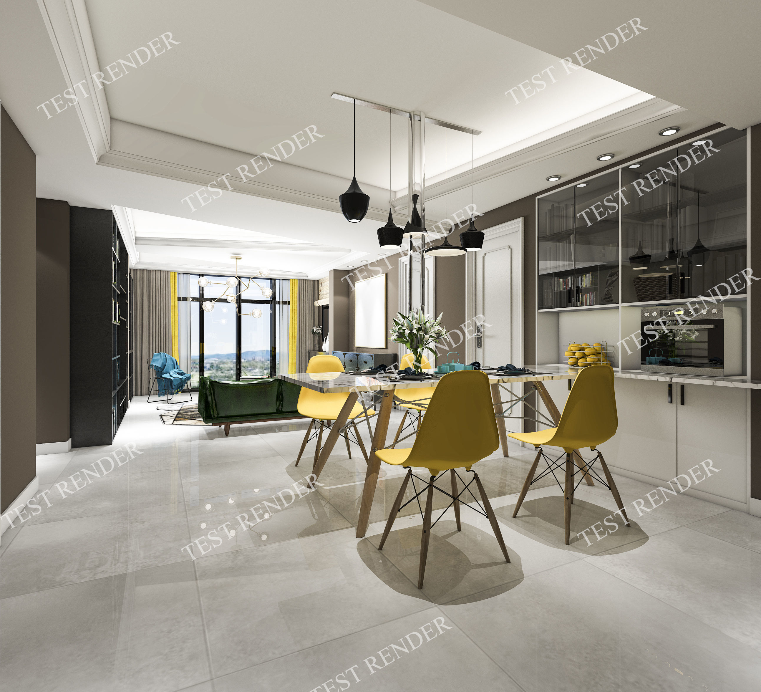 3D modern yellow dining room near kitchen and living room