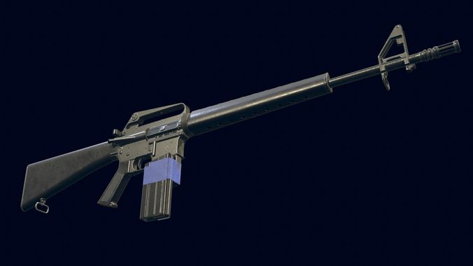 m16a1 automatic rifle 3d model obj mtl 1