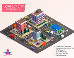 Cartoon Lowpoly City Free Game Pack 3D model