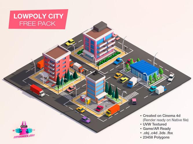 cartoon lowpoly city free game pack  3d model low-poly obj mtl 3ds fbx c4d stl pdf 1