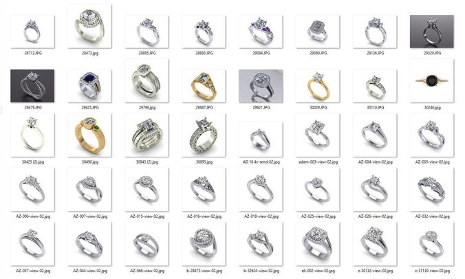 collection- bulk rings-0015-3dm with stones-40 files 3d model stl 3dm 1