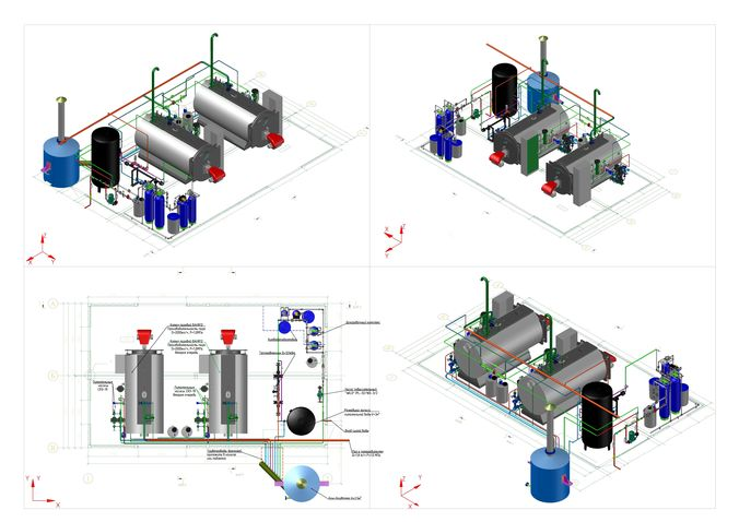 steam boiler room 4 t steam per hour 3D model flange