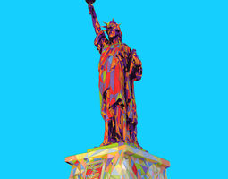 Low Polygon Pop Art Style Liberty Statue Monument 3D asset