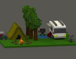 Campsite Voxel Model VR / AR ready