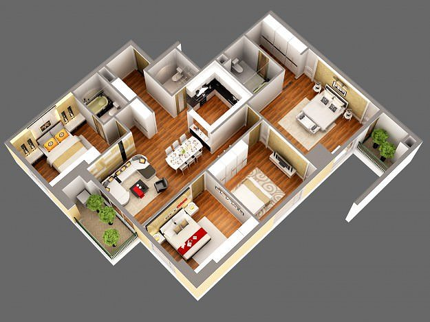 3d model detailed house cutaway view 3d model - Home 3d Model