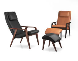 Contour Mid-Century Leather Chair by West Elm 3D
