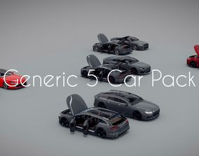 Generic low poly 5 car pack 3D asset