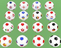 Soccer football balls flags of Europe 3D
