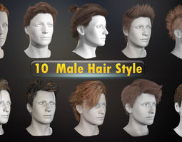 Male Hair Collection 3D model