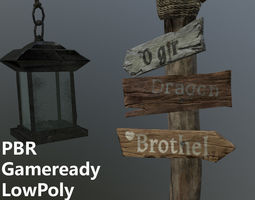 Medieval road sign 3d model - Ready for VR AR and realtime