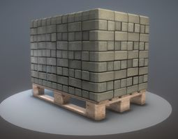 3D model EU Wood Pallet with Paving Stones - Low-Poly