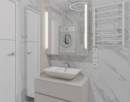 3d cozy shower room with marble tiles