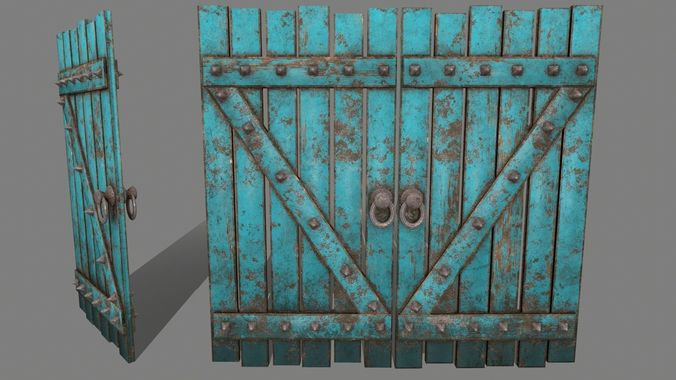 medieval door  3d model low-poly obj mtl fbx blend 1