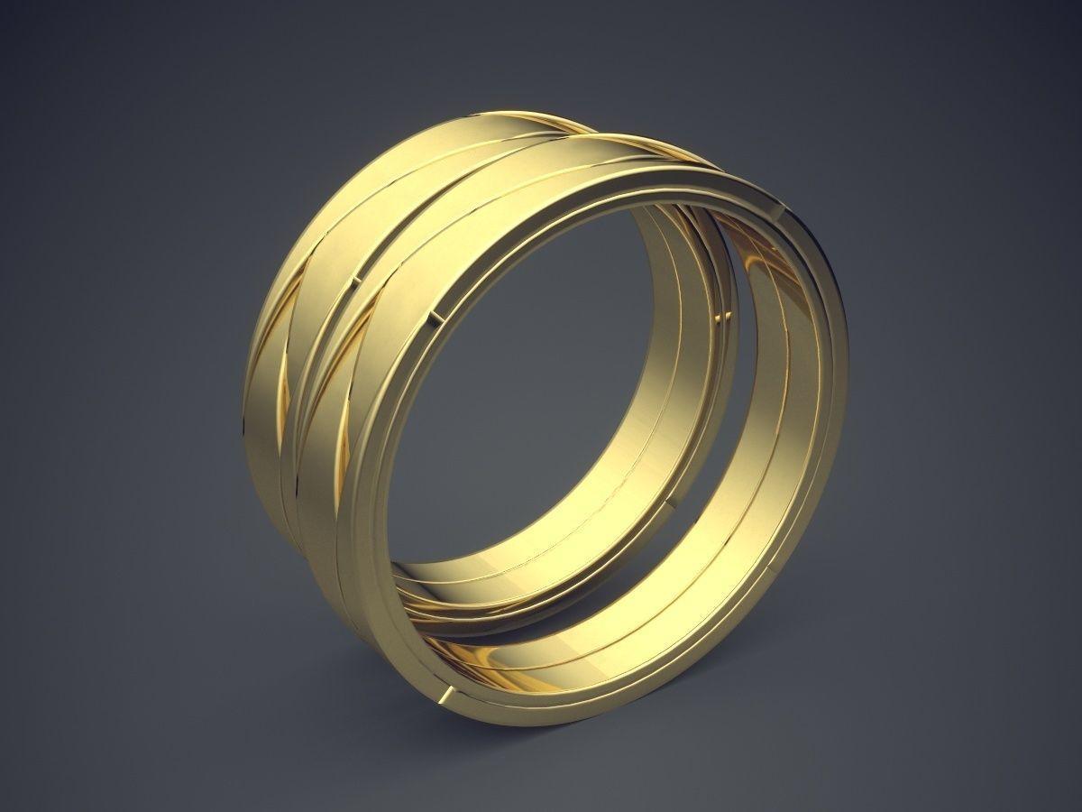 Simple Minimal Golden Wedding Rings With Braiding Design