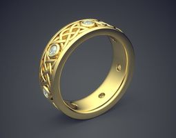 Classic Golden Engagement Ring With 3D print model 4