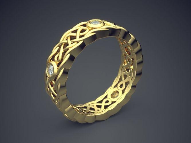 unique cared golden engagement ring with diamond details 3d model obj mtl 3ds fbx stl 3dm 1