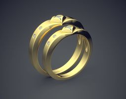 3D printable model Gorgeous Unique Golden Wedding Rings 1