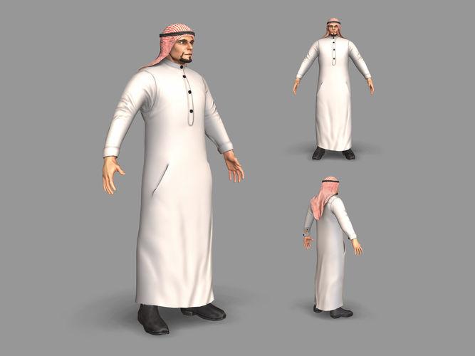 arab man 3d model low-poly max fbx 1