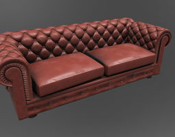 Couch 3D asset game-ready