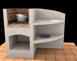 Stone Barbecue 3D asset