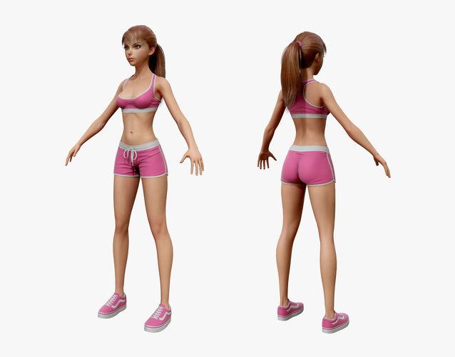 Cartoon Sport Girl 03 | 3D model