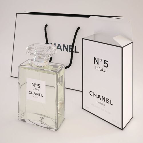 chanel n5 leau perfume with bag 3d model max obj mtl 1