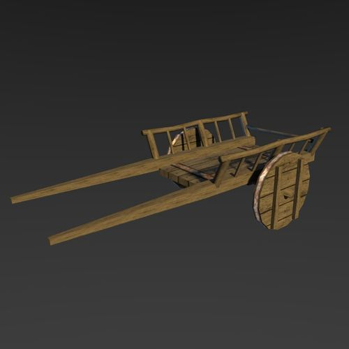medieval carriage 3d model low-poly obj mtl 3ds fbx blend unitypackage prefab 1