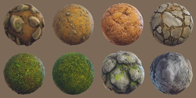 forest - stylized pbr materials  3d model  1